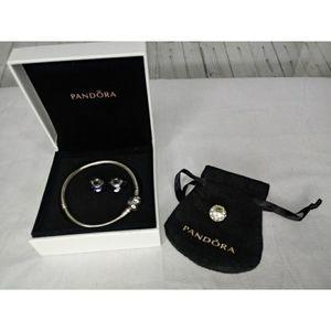 Pandora Bracelet w/3 Beads, Pouch & Box